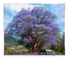 Under The Jacaranda Fleece Blanket