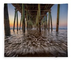 Under The Pier At Old Orchard Beach Fleece Blanket