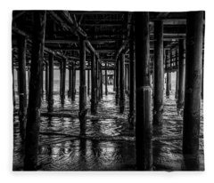 Under The Pier - Black And White Fleece Blanket