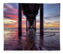 Under The Pier Sunset Fleece Blanket