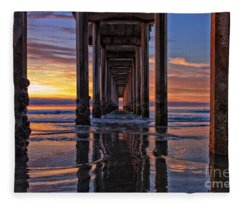 Under The Scripps Pier Fleece Blanket