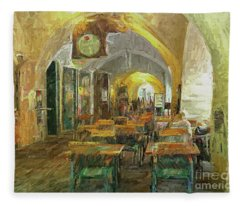 Underneath The Arches - Street Cafe, Prague Fleece Blanket