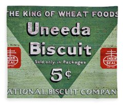 Uneeda Biscuit Vintage Sign Fleece Blanket