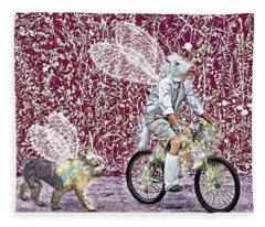 Unicorn And Doggie Fairies Fleece Blanket