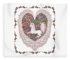 Unicorn In A Pink Heart Fleece Blanket
