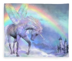 Unicorn Of The Rainbow Fleece Blanket