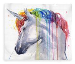 Unicorn Rainbow Watercolor Fleece Blanket