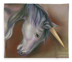 Unicorn With A Golden Horn Fleece Blanket