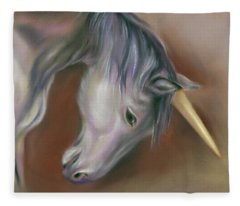 Unicorn With A Golden Horn Fleece Blanket
