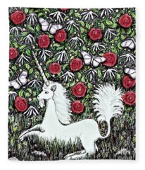 Unicorn With Red Roses And Butterflies Fleece Blanket