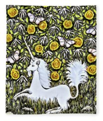 Unicorn With Yellow Flowers And Butterflies Fleece Blanket