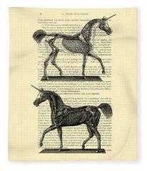 Unicorns Anatomy Fleece Blanket