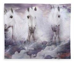 Unicorns Of The Mountains Fleece Blanket