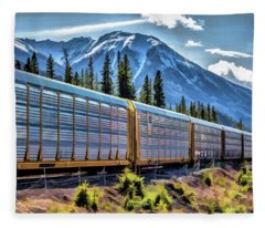 Union Pacific Mountain Freight Train Fleece Blanket