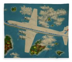 United Airlines Dc-6 Over The Islands Fleece Blanket