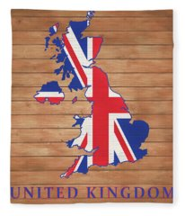 United Kingdom Rustic Map On Wood Fleece Blanket