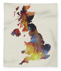 United Kingdom Watercolor Map Fleece Blanket