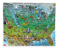 United States Of America Fun Map Fleece Blanket
