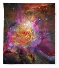 Fleece Blanket featuring the mixed media Universe Within A Rose by Carol Cavalaris