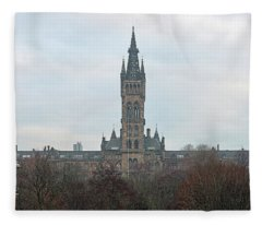University Of Glasgow At Sunrise - Panorama Fleece Blanket