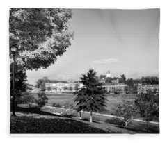 University Of North Georgia In Black And White Fleece Blanket