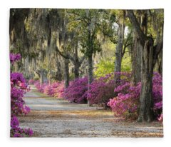Unpaved Road With Azaleas And Oaks Fleece Blanket