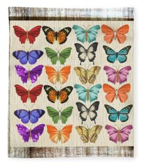 Colourful Butterflies Collage Fleece Blanket