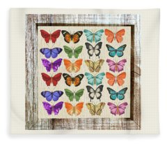 Unusual Colourful Butterfly Collage Fleece Blanket