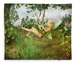 Up And Away - Vintage Fairy On A Swing Fleece Blanket