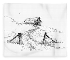 Up The Hill To The Old Barn Fleece Blanket