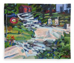 Uphill In Rockport Fleece Blanket