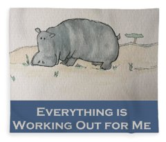Uplifting Hippo Fleece Blanket