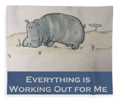 Uplifting Hippo Fleece Blanket