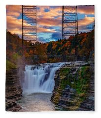 Upper Falls Letchworth State Park Fleece Blanket