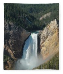 Upper Falls, Yellowstone River Fleece Blanket