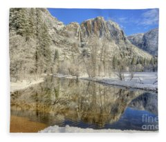 Upper Yosemite Falls From Swinging Bridge Winter Fleece Blanket