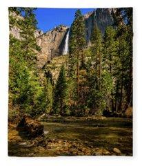 Upper Yosemite Falls From Yosemite Creek Fleece Blanket