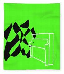 Upright Piano In Green Fleece Blanket