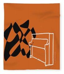 Upright Piano In Orange Fleece Blanket