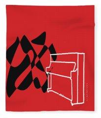 Upright Piano In Red Fleece Blanket