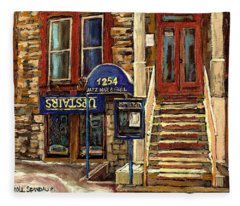 Upstairs Jazz Bar And Grill Montreal Fleece Blanket