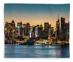Uptown And Midtown At Sunrise Fleece Blanket