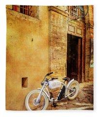 Urban Bikery Bicycle  Fleece Blanket