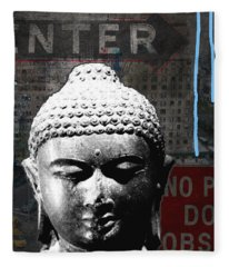 Urban Buddha 4- Art By Linda Woods Fleece Blanket