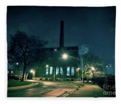 Chicago Urban Industrial Night Scenery Fleece Blanket