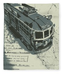 Urban Trams And Old Maps Fleece Blanket