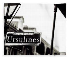 Ursulines In Monotone, New Orleans, Louisiana Fleece Blanket