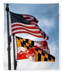Us And Maryland Flags Fleece Blanket