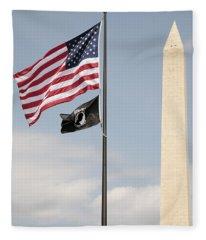Us And Pow-mia Flags Fly In Washington Dc Fleece Blanket