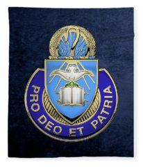 U. S. Army Chaplain Corps - Regimental Insignia Over Blue Velvet Fleece Blanket